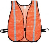 Orange Soft Mesh Safety Vest - 1inch Silver